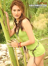 Thai Cutie Lanua Strips Green Dress & Pink Panties