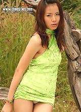 Thai Cutie Fine Strips Green Dress Outdoors