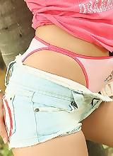 Soda Nuch Strips Denim Shorts Outside