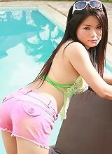 Oki Koew Poolside Denim Shorts Strip