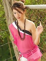 Asian Cutie Kimja Moon Strips Sheer Top And Shorts