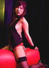 Seductive asian hottie teases in her bright blue bikini