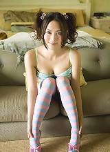 Haruna Yabuki looking very hot in her denim shorts and bra
