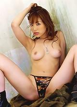 Yua Aida shows her sexy ass in a pair of thong panties