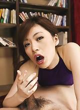 Keito Miyazawa Asian in fishnet crotchless stockings fucks pussy