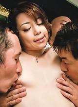 Three stiff dicks rip apart Maki Hojo's mouth and pussy