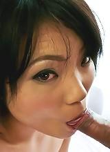 Haruna Katou Asian plays with tongue on penis before big drilling