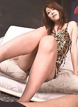 Maki Hojo Asian in sexy lingerie sucks and licks one huge stiffy