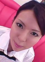 Rino Asuka Asian in office uniform rubs phallus with her feet