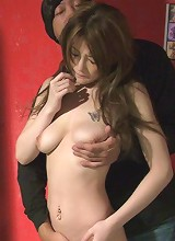 Horny Yuu Hinouchi lies on her side before banged by a big dick