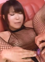 Yuuno Hoshi Asian gets fingers and vibrator through fishnets