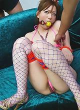 Yukina Momose Asian in fishnet stockings gets vibrator on vagina