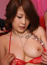 Busty babe Yuki Aida enjoys sex toys in her trimmed Asian pussy