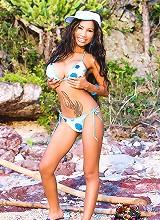 Lulu strikes the pose on the beach